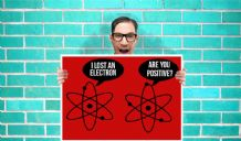 Electron lost Atom Funny Art - Wall Art Print Poster   - Purple Geekery